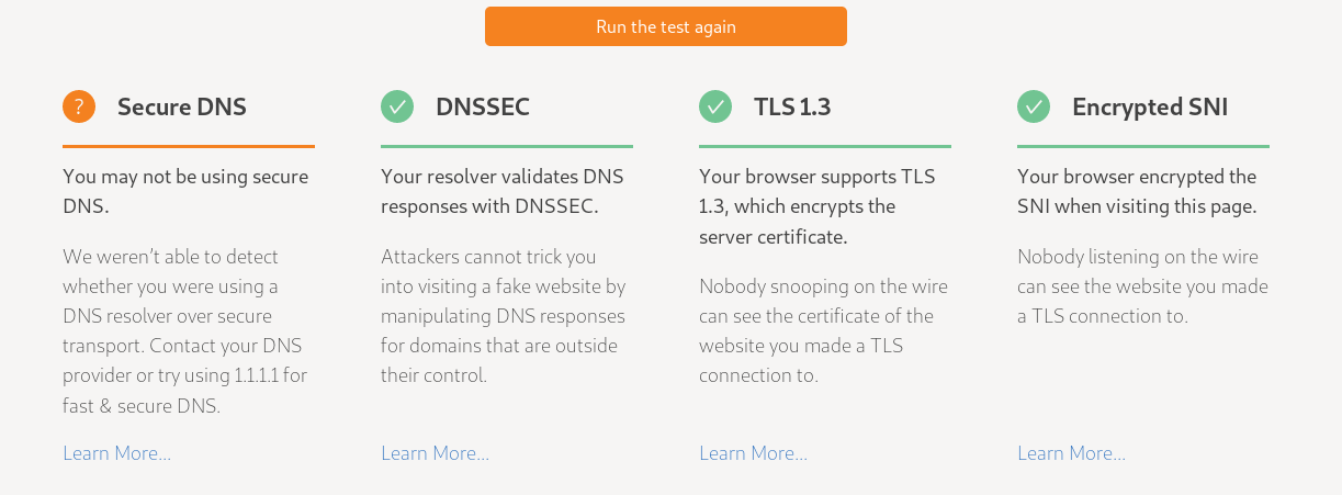 Cloudflare's Secure DNS/DNSSEC/TLS 1.3/Encrypted SNI test page.
