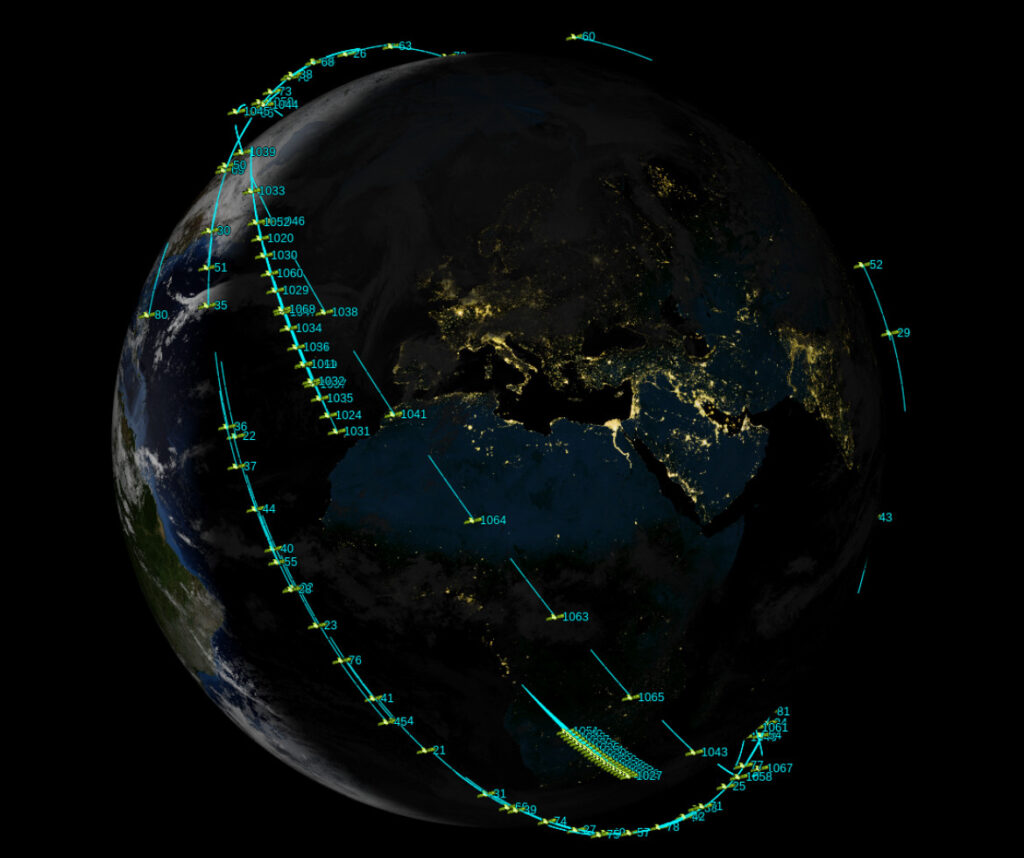 The Skytrain topology in which SpaceX Starlink satellites are deployed within low Earth orbit